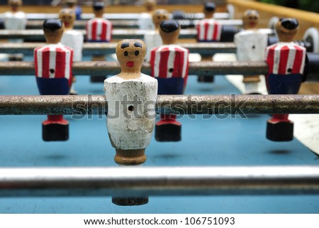 old abandoned foosball table - stock photo