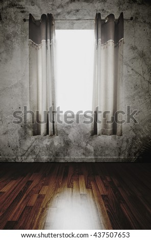 Old abandoned interior , wooden floor and grunge concrete wall with curtain opening receiving sunlight, dark environment - stock photo