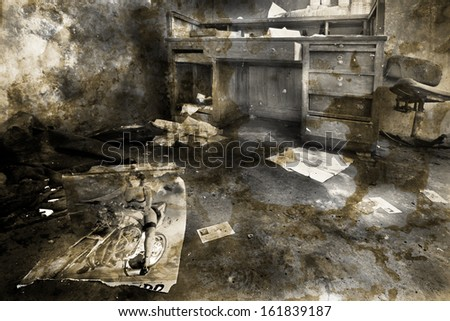 old abandoned place, black and white photo - stock photo