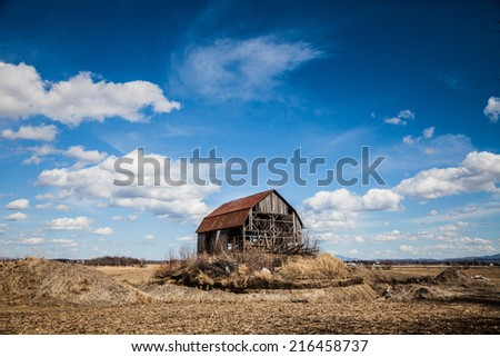 Old Abandoned Rusty Old barn in the Middle of nowhere ! - stock photo