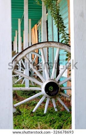 Old abandoned western style hotel motel. - stock photo