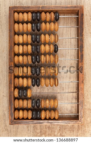 Old accounting wooden abacus on brown background - stock photo