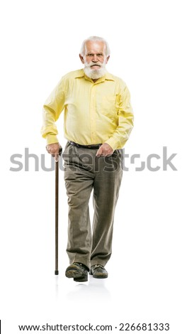 Old active bearded man walking with cane isolated on white background - stock photo