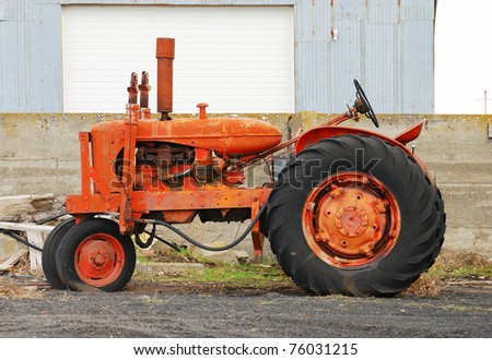 Old ag equipment along the road near Hermiston Oregon - stock photo