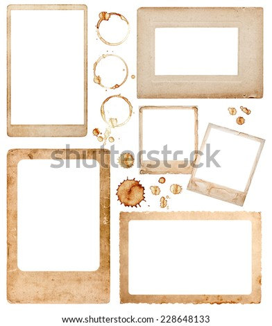 old aged paper photo frames and coffee stains isolated on white background. scrapbook elements - stock photo