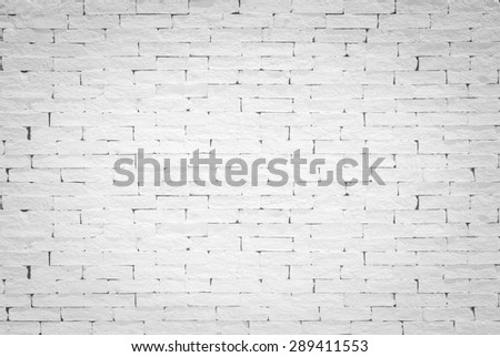 Old aged rough brick wall texture background painted in white color tone in grunge style with vignette: Blank masonry wall textured backdrop in white colour   - stock photo