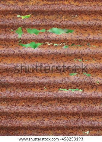 old aged weathered rusty galvanized corrugated iron sheet surface backdrop background - stock photo
