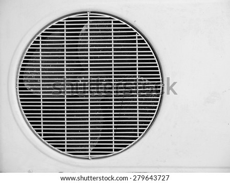 Old air conditioner isolated on white - stock photo
