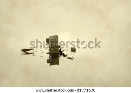 Old airplane from the dawn of aviation history - stock photo