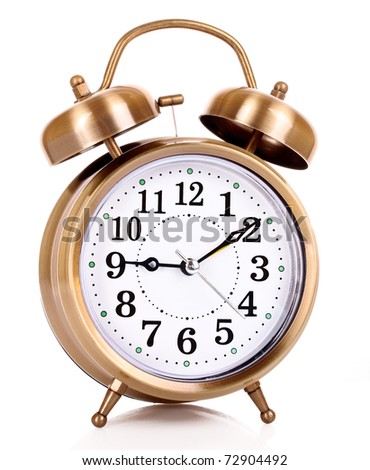 Old alarm-clock on blue background - stock photo