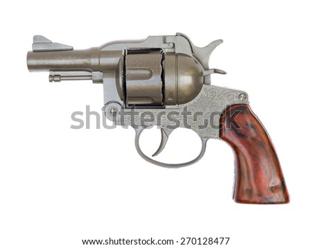 Old alarm pistol isolated on white - stock photo