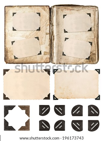 old album page with photo frames and corners isolated on white background - stock photo