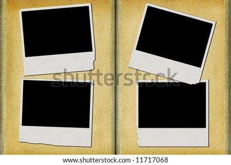 old album with empty photo frames - stock photo