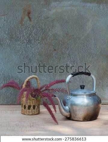 old aluminium kettle - stock photo