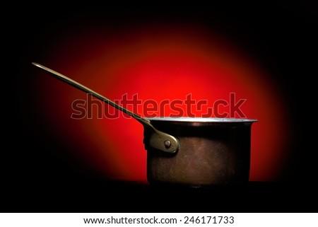 old aluminium kettle isolated  - stock photo