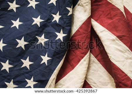 Old American flag background for Memorial Day or 4th of July or Dependence Day, effect by vintage style, vintage image, vintage tone - stock photo