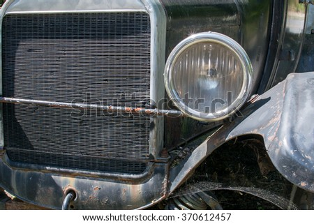 Old american rugged Rusted Car - stock photo