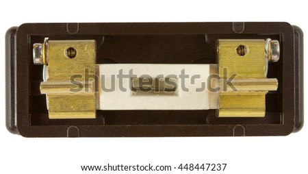 Old 30 Amp Fuse Wire Holder isolated on white with clipping path - stock photo