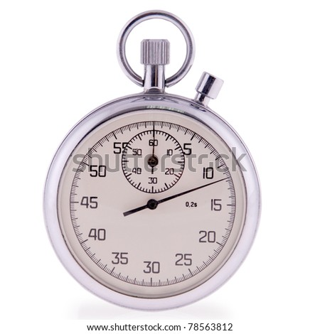 Old analog stop watch in white. Clipping path included. - stock photo