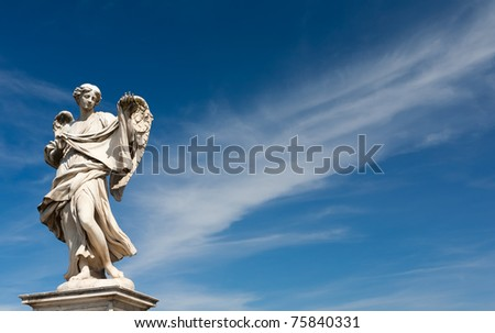 old, ancient sculpture of an angel, Rome, Italy - stock photo