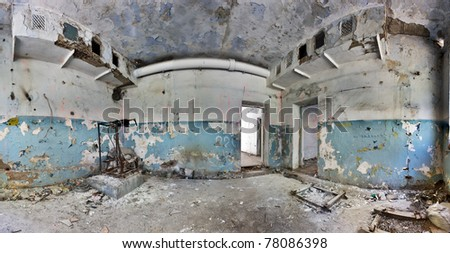 old and abandoned house inside hdr panorama - stock photo