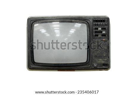 Old and dirty televisoin, 1980 - stock photo