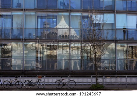 Old and new Brighton Pavilion Reflection - stock photo
