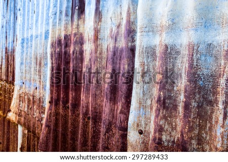 Old and Rusted decay metalsheet wall : retro colour - stock photo