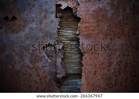 old and rusty metal background with worn and cracked paint - stock photo