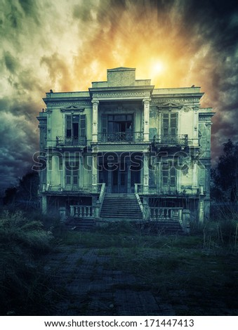 Old and spooky old house  - stock photo
