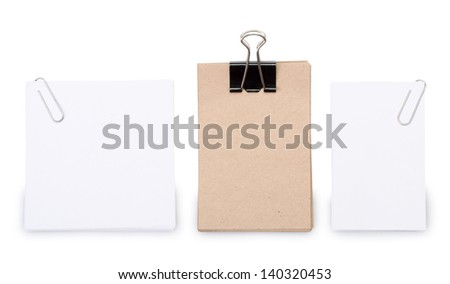 Old and white paper sheets for letter with clip isolated on a white background - stock photo