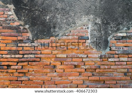 Old and worn out cement brick wall - background - stock photo
