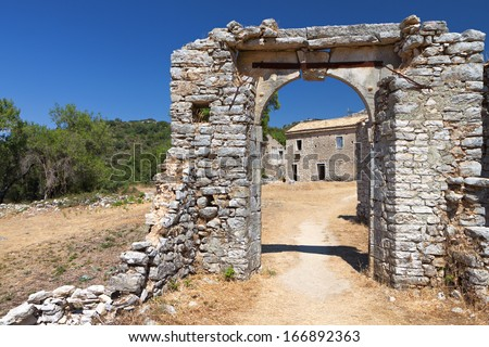 Old Ano Perithia village at Corfu island in Greece - stock photo
