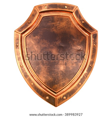 old antique bronze shield. isolated on white background. - stock photo