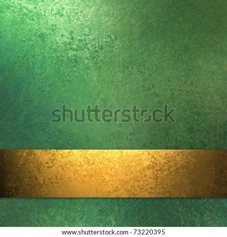 old antique burnished gold ribbon stripe on green background wall with soft faded grunge texture, sunny highlights, and copy space to add your own title, or text - stock photo
