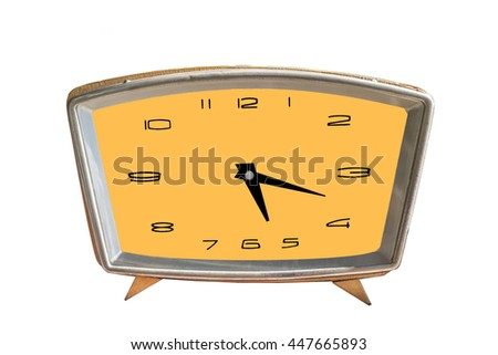 Old antique clock isolated. - stock photo