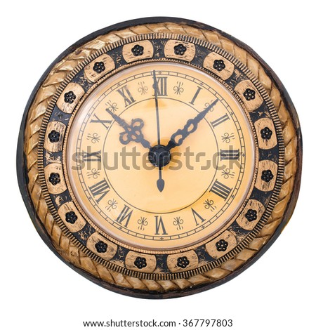 Old antique clock isolated on  white background, way in path - stock photo