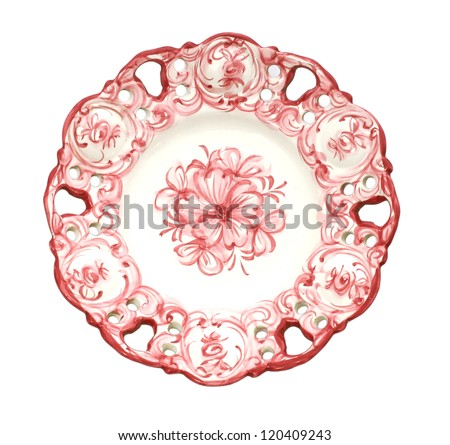 Old antique dinner plate isolated on white background - stock photo