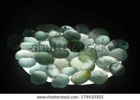 old antique glass in the Museum of Bodrum - stock photo