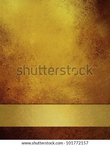 old antique gold background with elegant soft faded vintage grunge background texture and gold ribbon stripe, elegant Christmas background or anniversary gold background, or wedding, or web template - stock photo