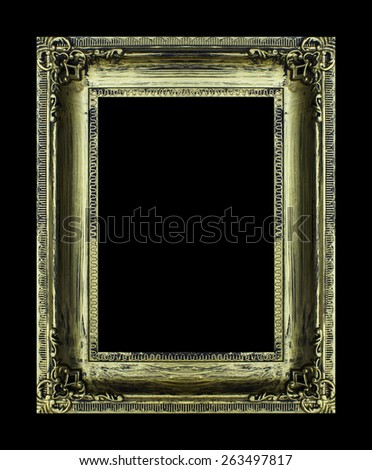 Old antique gold frame isolated on background. - stock photo