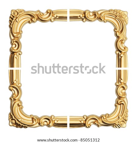 old antique gold frame. Isolated over white background - stock photo