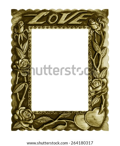 Old antique gold frame love isolated on white background. - stock photo