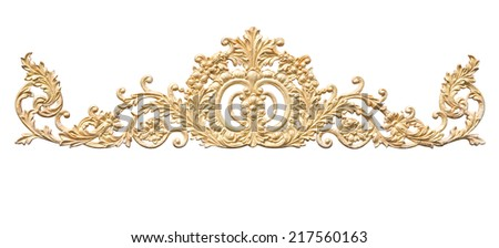 old antique gold frame Stucco walls greek culture roman vintage style pattern line design for border isolated on white background with clipping path.  - stock photo