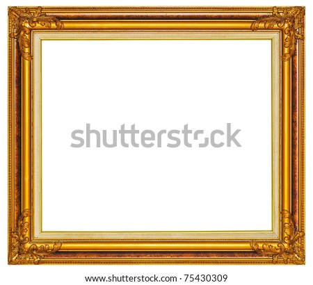 old antique gold frame white background with clipping path - stock photo