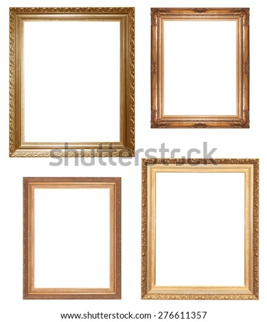 Old antique gold picture frame wall, wallpaper, decorative objects isolated white background. - stock photo