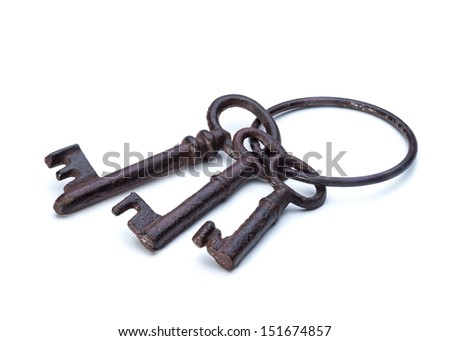 Old antique keys isolated on a white background closeup - stock photo