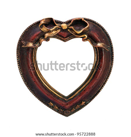 Old antique ornate frame with white background. Isolated image. - stock photo