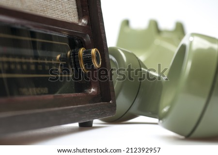 old antique radio - stock photo