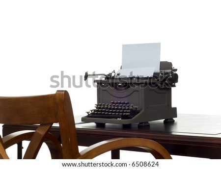 Old, antique, vintage, typewriter on desk with white background - stock photo